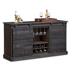 Ideas Rustic Barn Door Hardware Products For 2019 Wine Cabinets, Storage Cabinets, Kitchen Cabinets, Rustic Wine Cabinet, Wine Credenza, Sideboard With Wine Rack, Buffet Cabinet, Cabinet Ideas, Regal Design