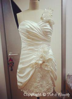 Pretty Short Floral One Shoulder Bridal Dress