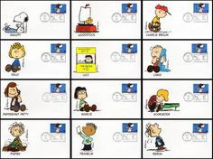 3507 / Snoopy : Peanuts Characters Set of 12 Fleetwood 2001 FDCs Woodstock Charlie Brown, Charlie Brown Peanuts, Snoopy And Woodstock, Peanuts Gang, Peanuts Characters, Peppermint Patties, Brown Envelopes, First Day Covers, 34c