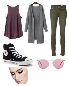 """""""High school"""" by proste-jaa on Polyvore featuring RVCA, rag & bone/JEAN, Converse and Oliver Peoples"""