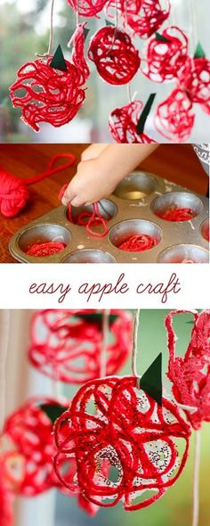 Make a yarn apple craft for children in the fall - Crafts for Kids Preschool Apple Theme, Fall Preschool, Fall Activities For Kids, Preschool Apple Activities, Apple Crafts For Preschoolers, Preschool Apples, September Crafts, September Themes, October