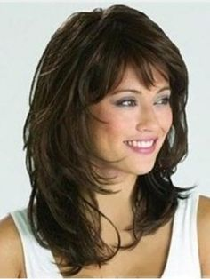 thick hair styles for medium length hairstyles with bangs for 50 9653