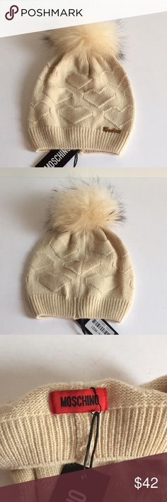 Moschino Heart Wool Hat with Raccoon Fur Pom New Moschino Wool Beanie Hat with Raccoon fur Pom. The Pom is detachable. Heart pattern. One size S - L. Color cream. Wool blend. Made in Italy. NO OFFERS. THE PRICE IS FIRM. Moschino Accessories Hats
