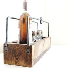 Homebrew Carrier Rustic Wood Tray Wooden Box Wine Caddy Gift for Him Forged Iron Handles