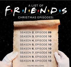 A list of all the Christmas episodes from FRIENDS Friends Episodes, Friends List, Friends Moments, Friends Series, Friends Tv Show, Friends Forever, Best Tv Shows, Favorite Tv Shows, Friends Christmas Episode