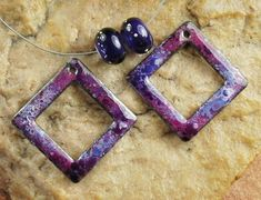 Enameled Copper Charms, Earring Beads, Lampwork Beads, Enamel Components, Rpurple Lovers #341 by CC Design