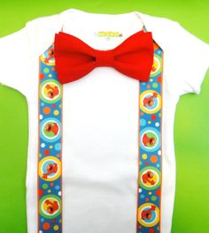 Sesame Street Birthday Shirt Baby Boy - Sesame Street Theme First Party Boy -  Bow Tie Outfit with Sesame Street Suspenders - 1st Birthday on Etsy, $16.00