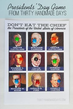 """Perfect for President's weekend- play """"Don't Eat the Chief"""" with free #printables included!"""