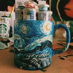 Ideas For Coffee Art Painting Draw Mugs Arte Van Gogh, Van Gogh Art, Art Hoe Aesthetic, Aesthetic Painting, Vincent Van Gogh, Art Inspo, Painting & Drawing, Art Photography, Photography Aesthetic