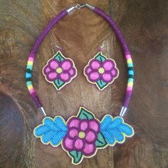 Beaded necklace and earrings for Emily.