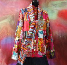 Veste femme cintrée en patchwork de coton rose et multicolore : Manteau, Blouson, veste par akkacreation