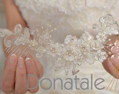 Tocado de novia nupcial peine boda pelo peine peine decorativo