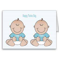 Happy Twins Day Boys Card Birthday