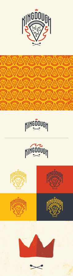 KingDough, first I love the play on words that this brand has. Plus have the very screen print look gives this logo a sense of organic feel that a pizza company needs. Pizza Branding, Pizza Logo, Restaurant Branding, Restaurant Restaurant, Restaurant Design, Coperate Design, The Design Files, Brand Identity Design, Branding Design