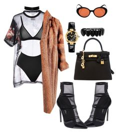 """""""Untitled #1239"""" by mollface ❤ liked on Polyvore featuring Givenchy, Anine Bing, SPANX, Oliver Peoples, Barbara Bui, Hermès and Versace"""