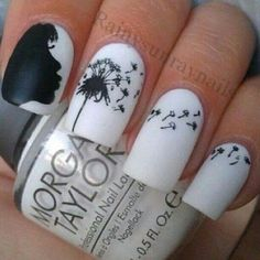 Black - White - Blowing in the wind - Nail design