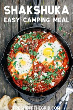 This easy shakshuka recipe is loaded with flavor. Eggs poached in a slightly spicy pepper & tomato sauce, then topped with feta cheese - perfect for enjoying with a slice of crusty bread. This also makes for a tasty, easy camping meal! Shakshuka Recipes, Camping Menu, Camping Dishes, Outdoor Camping, Camping Foods, Camping Ideas, Camping Cooking, Tent Camping, Recipes