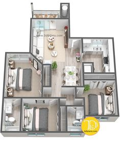 apartment floor plans floor plan - 3 bedrooms in Florida Condo Floor Plans, Bungalow Floor Plans, Model House Plan, Sims House Plans, House Layout Plans, Cottage Floor Plans, Apartment Floor Plans, House Layouts, Small House Plans