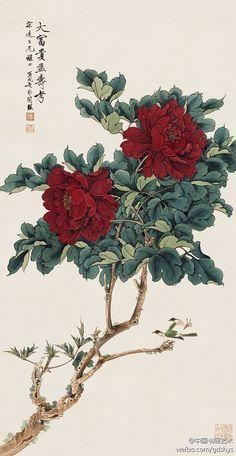 Chinese brush painting by Yu Fei An 于非闇 作品《大富贵益寿考》 Japanese Art Prints, Japanese Artwork, Japanese Painting, Korean Painting, Chinese Painting Flowers, Art Chinois, Japanese Flowers, China Art, Arte Floral