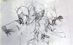 Simon Birch creates another movement piece with his signature penciling style. The complex layering of the piece allows the artist to portray the aggression and almost desperation of the dancer's movements. This emotion is then confirmed by the drawn facial expression on the character.