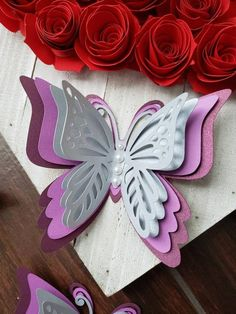 Paper SIlver and Purple set of 6 Butterflies/paper flower decor Paper Butterflies / Silver and Purple set of … Paper Quilling Flowers, Paper Flower Decor, 3d Quilling, Paper Quilling Designs, Paper Butterflies, Giant Paper Flowers, Flower Decorations, Quilled Roses, Quilling Ideas