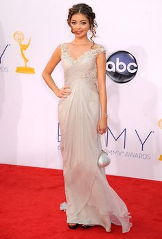 Brides.com: The Most Wedding-Worthy Red Carpet Dresses. Sarah Hyland at the 2012 Emmys. Sarah Hyland looks wedding picture perfect in an ethereal dove grey Marchesa gown.  Browse Marchesa wedding dresses.