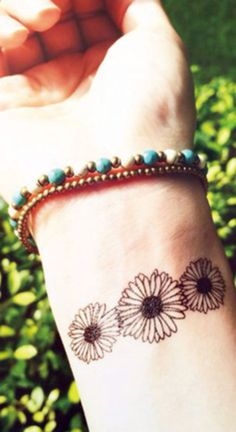 Sunflower Floral Wrist Tattoos in Black and White for Women - MyBodiArt.com