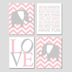 Baby Girl Nursery Art - Chevron Elephant Nursery Prints - Kids Wall Art Baby Girls Room Baby Nursery Decor Playroom Rules Quote - Four 11x14...