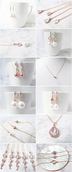 Rose gold wedding jewelry , perfect for your special day from elegant pearl rose gold necklace with matching earrings, rose gold pearls bridal earrings to rose gold bridesmaids gifts.