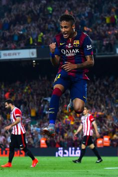 Neymar of FC Barcelona celebrates after scoring his team's second goal during the Copa del Rey Final match between FC Barcelona and Athletic Club at Camp Nou on May 30, 2015 in Barcelona, Catalonia.