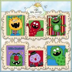 Monster Doodle Frames 1 - NE Cheryl Seslar Clip Art