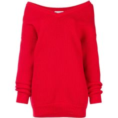 Balenciaga Long Sleeve V Neck sweater ($1,295) ❤ liked on Polyvore featuring tops, sweaters, red, red oversized sweater, v-neck sweater, red v neck sweater, cotton sweaters and oversized cotton sweater