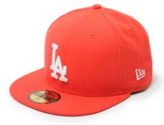 Custom Los Angeles Dodgers Hot Red 59Fifty Fitted Baseball Cap by NEW ERA x MLB