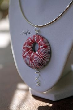 Polymer Clay striped air pendant WEARABLE ART by shankas on Etsy