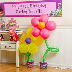Dora Party Ideas - love balloon flowers!