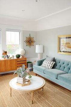 """Love the sofa, muted pastels // A """"Happy Californian Golden Girls Greenhouse"""" Apartment in San Francisco"""