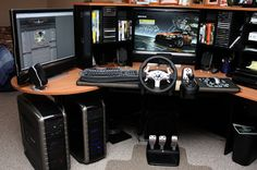 PC gamer set with racing simulation kit Mais