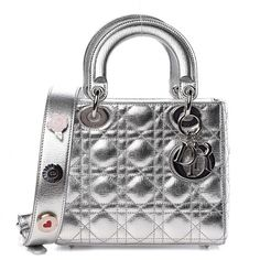 Lady Dior, Christian Dior Bags, How To Make Notes, Luxury Bags, Leather Handle, Metallic, Arm Candies, Silver, Totes