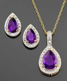 MMG 18 KT Gold Over Sterling Silver Amethyst  & Diamond Accent  Necklace Set