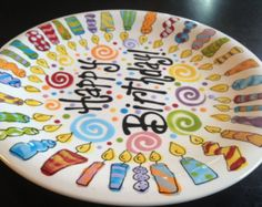 Multicolor Personalized 8 Inch Ceramic Special Day Plate or Birthday Plate & 11 inch Personalized Birthday Plate - Floral Birthday Cake Design ...