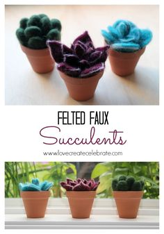 Felted Faux Succulents - Great to decorate your home, or a fabulous DIY gift for a birthday or Mother's Day :) #tutorial #felt #faux #plants #bright #spring #gift #DIY