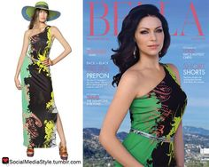 Buy Laura Prepon's Bella Magazine Colorful One Shoulder Dress, here!