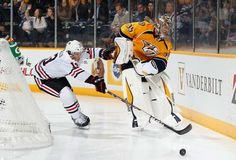 Why I get so nervous when goalies leave the net... 12/6/14 Hawks beat Nashville 3-1 to become 18-8-1 and 1st in Central Division!