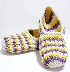 Crocheted Indoor Ladies' Slippers - Cream, Purple and Yellow - Naomi   Flickr - Photo Sharing!