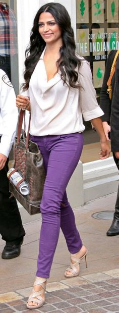 purple jeans and white shirt