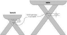 bolt holes through the table legs