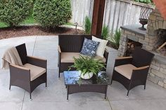 4 PC Modern Outdoor Rattan Brown Wicker Table Patio Set Furniture Dining Garden Brown Stripe *** See this great product. (This is an affiliate link) #PatioFurnitureandAccessories