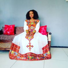 Handwoven cotton fabric Hand embroidered Made to order Processing time weeks Includes netela/shawl Express delivery business days Ethiopian Wedding Dress, Ethiopian Dress, Traditional Wedding Dresses, Traditional Clothes, African Women, African Fashion, Habesha Kemis, Ethiopian Traditional Dress, Funky Dresses