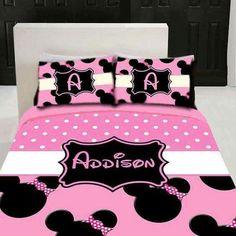 Custom listing for kimbralykettler by ThreePeasInAPodLLC on Etsy Minnie Mouse Bedding, Disney Bedding, Minnie Mouse Theme, Pink Minnie, Disney Bedrooms, Little Girl Rooms, Girls Bedroom, Kids Room, Toddler Bed