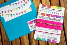 Cinco de Mayo Mexican fiesta wedding papel picado wedding invitation with matching envelope liner designed by The Goodness